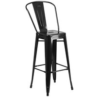 Flash Furniture CH-31320-30GB-BK-GG 30 inch Black Galvanized Steel Bar Height Stool with Vertical Slat Back and Drain Hole Seat