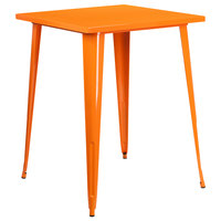 Flash Furniture CH-51040-40-OR-GG 31 1/2 inch Orange Metal Indoor / Outdoor Square Bar Height Table
