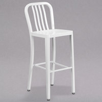 Flash Furniture CH-61200-30-WH-GG 30 inch White Metal Indoor / Outdoor Bar Height Stool with Vertical Slat Back