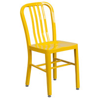Flash Furniture CH-61200-18-YL-GG Yellow Metal Indoor / Outdoor Chair with Vertical Slat Back