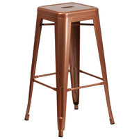 Flash Furniture ET-BT3503-30-POC-GG 30 inch Copper Stackable Metal Indoor / Outdoor Backless Bar Height Stool with Square Drain Seat