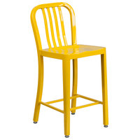 Flash Furniture CH-61200-24-YL-GG 24 inch Yellow Metal Indoor / Outdoor Counter Height Stool with Vertical Slat Back