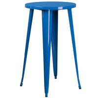 Flash Furniture CH-51080-40-BL-GG 24 inch Blue Metal Indoor / Outdoor Round Bar Height Table