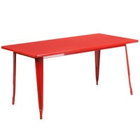 Flash Furniture ET-CT005-RED-GG 31 1/2 inch x 63 inch Red Metal Indoor / Outdoor Rectangular Cafe Table