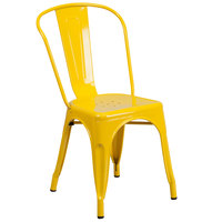 Flash Furniture CH-31230-YL-GG Yellow Stackable Galvanized Steel Chair with Vertical Slat Back and Drain Hole Seat