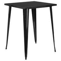 Flash Furniture CH-51040-40-BK-GG 31 1/2 inch Black Metal Indoor / Outdoor Square Bar Height Table