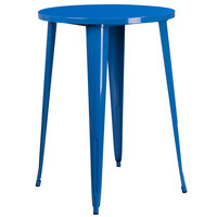 Flash Furniture CH-51090-40-BL-GG 30 inch Blue Metal Indoor / Outdoor Round Bar Height Table