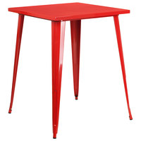 Flash Furniture CH-51040-40-RED-GG 31 1/2 inch Red Metal Indoor / Outdoor Square Bar Height Table
