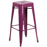 Flash Furniture ET-BT3503-30-PUR-GG 30 inch Purple Stackable Metal Indoor / Outdoor Backless Bar Height Stool with Square Drain Seat
