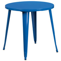 Flash Furniture CH-51090-29-BL-GG 30 inch Blue Metal Indoor / Outdoor Round Cafe Table