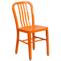 Flash Furniture CH-61200-18-OR-GG Orange Metal Indoor / Outdoor Chair with Vertical Slat Back