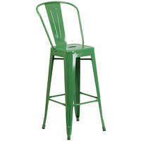 Flash Furniture CH-31320-30GB-GN-GG 30 inch Green Galvanized Steel Bar Height Stool with Vertical Slat Back and Drain Hole Seat