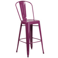 Flash Furniture ET-3534-30-PUR-GG 30 inch Purple Galvanized Steel Bar Height Stool with Vertical Slat Back and Drain Hole Seat