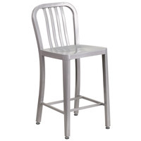 Flash Furniture CH-61200-24-SIL-GG 24 inch Silver Metal Indoor / Outdoor Counter Height Stool with Vertical Slat Back