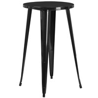 Flash Furniture CH-51080-40-BK-GG 24 inch Black Metal Indoor / Outdoor Round Bar Height Table