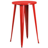 Flash Furniture CH-51080-40-RED-GG 24 inch Red Metal Indoor / Outdoor Round Bar Height Table