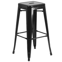 Flash Furniture CH-31320-30-BK-GG 30 inch Black Stackable Metal Indoor / Outdoor Backless Bar Height Stool with Square Drain Seat