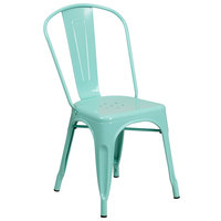 Flash Furniture ET-3534-MINT-GG Mint Green Stackable Galvanized Steel Chair with Vertical Slat Back and Drain Hole Seat
