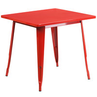 Flash Furniture ET-CT002-1-RED-GG 30 inch Red Metal Indoor / Outdoor Square Cafe Table