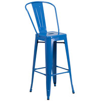 Flash Furniture CH-31320-30GB-BL-GG 30 inch Blue Galvanized Steel Bar Height Stool with Vertical Slat Back and Drain Hole Seat