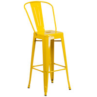 Flash Furniture CH-31320-30GB-YL-GG 30 inch Yellow Galvanized Steel Bar Height Stool with Vertical Slat Back and Drain Hole Seat