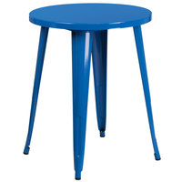 Flash Furniture CH-51080-29-BL-GG 24 inch Blue Metal Indoor / Outdoor Round Cafe Table