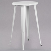 Flash Furniture CH-51080-40-WH-GG 24 inch White Metal Indoor / Outdoor Round Bar Height Table