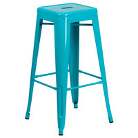Flash Furniture ET-BT3503-30-CB-GG 30 inch Crystal Teal Blue Stackable Metal Indoor / Outdoor Backless Bar Height Stool with Square Drain Seat