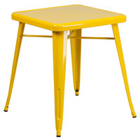 Flash Furniture CH-31330-29-YL-GG 24 inch Yellow Metal Indoor / Outdoor Square Cafe Table