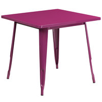 Flash Furniture ET-CT002-1-PUR-GG 30 inch Purple Metal Indoor / Outdoor Square Cafe Table