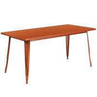 Flash Furniture ET-CT005-POC-GG 31 1/2 inch x 63 inch Copper Metal Indoor / Outdoor Rectangular Cafe Table