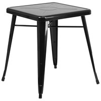 Flash Furniture CH-31330-29-BK-GG 24 inch Black Metal Indoor / Outdoor Square Cafe Table