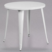 Flash Furniture CH-51090-29-WH-GG 30 inch White Metal Indoor / Outdoor Round Cafe Table
