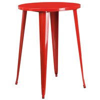 Flash Furniture CH-51090-40-RED-GG 30 inch Red Metal Indoor / Outdoor Round Bar Height Table