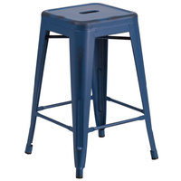 Flash Furniture ET-BT3503-24-AB-GG 24 inch Distressed Antique Blue Stackable Metal Indoor / Outdoor Backless Counter Height Stool with Square Drain Seat
