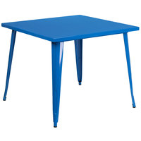 Flash Furniture CH-51050-29-BL-GG 35 1/2 inch Blue Metal Indoor / Outdoor Square Cafe Table