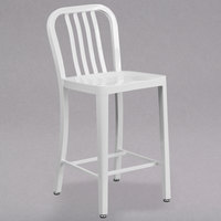 Flash Furniture CH-61200-24-WH-GG 24 inch White Metal Indoor / Outdoor Counter Height Stool with Vertical Slat Back