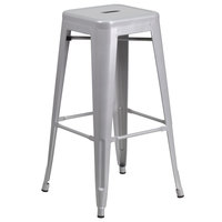 Flash Furniture CH-31320-30-SIL-GG 30 inch Silver Stackable Metal Indoor / Outdoor Backless Bar Height Stool with Square Drain Seat