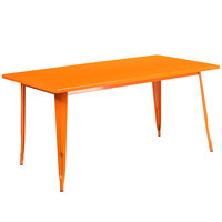 Flash Furniture ET-CT005-OR-GG 31 1/2 inch x 63 inch Orange Metal Indoor / Outdoor Rectangular Cafe Table