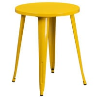 Flash Furniture CH-51080-29-YL-GG 24 inch Yellow Metal Indoor / Outdoor Round Cafe Table