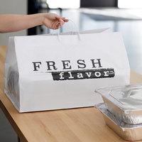 22 inch x 14 inch x 15 inch White Rigid Plastic Handled Shopper Bag with Fresh Flavor Printing   - 50/Case