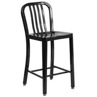 Flash Furniture CH-61200-24-BK-GG 24 inch Black Metal Indoor / Outdoor Counter Height Stool with Vertical Slat Back