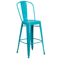 Flash Furniture ET-3534-30-CB-GG 30 inch Crystal Teal Blue Galvanized Steel Bar Height Stool with Vertical Slat Back and Drain Hole Seat