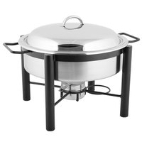 Choice 6 Qt. Wrought Iron Pillar Round Chafer Kit with Divided Food Pan