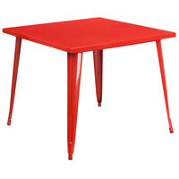 Flash Furniture CH-51050-29-RED-GG 35 1/2 inch Red Metal Indoor / Outdoor Square Cafe Table