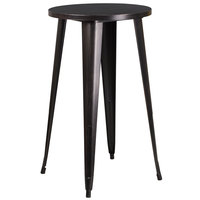 Flash Furniture CH-51080-40-BQ-GG 24 inch Black-Antique Gold Metal Indoor / Outdoor Round Bar Height Cafe Table