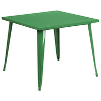 Flash Furniture CH-51050-29-GN-GG 35 1/2 inch Green Metal Indoor / Outdoor Square Cafe Table