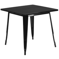 Flash Furniture ET-CT002-1-BK-GG 30 inch Black Metal Indoor / Outdoor Square Cafe Table
