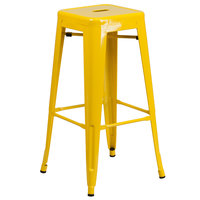 Flash Furniture CH-31320-30-YL-GG 30 inch Yellow Stackable Metal Indoor / Outdoor Backless Bar Height Stool with Square Drain Seat