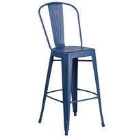 Flash Furniture ET-3534-30-AB-GG 30 inch Distressed Antique Blue Metal Indoor / Outdoor Bar Height Stool with Vertical Slat Back and Drain Hole Seat